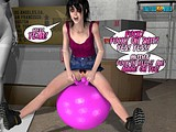 Stunning 3Dsolo scene of horny little bitch bouncing on a fitball fucking it hard!