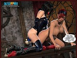 Sexy brutal redhead bitch tortures her tranny slave till hot cumming!