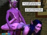 Horny hot elfin bitch gives her fucking holes to huge muscled studs!