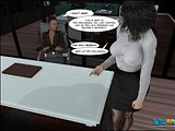 Cute guy gets through his first trial with black wet pussy of his boss!