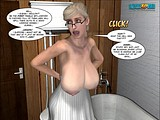 Exciting comics sex play with cute German blonde whore teasing her boobs!