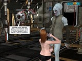 Nasty redhead bitch brutal to suck a big penis of an alien monster!