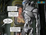 Exciting sex action of a blonde big tits beauty and a bionic robot!