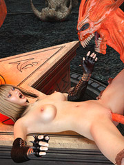 Super hot sorceress hooks up with a big horned demon