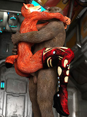 Furry space bear and a super hot fox get it on in space